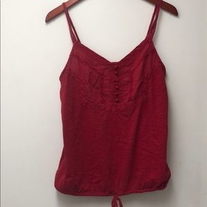 Lucky Brand Red Embroidered Tank size M